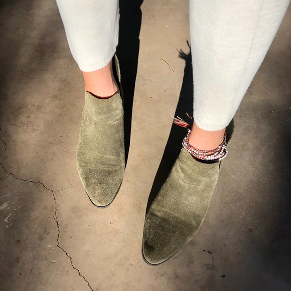 SOLD*Olive Suede Low Cut Chelsea Western Boots